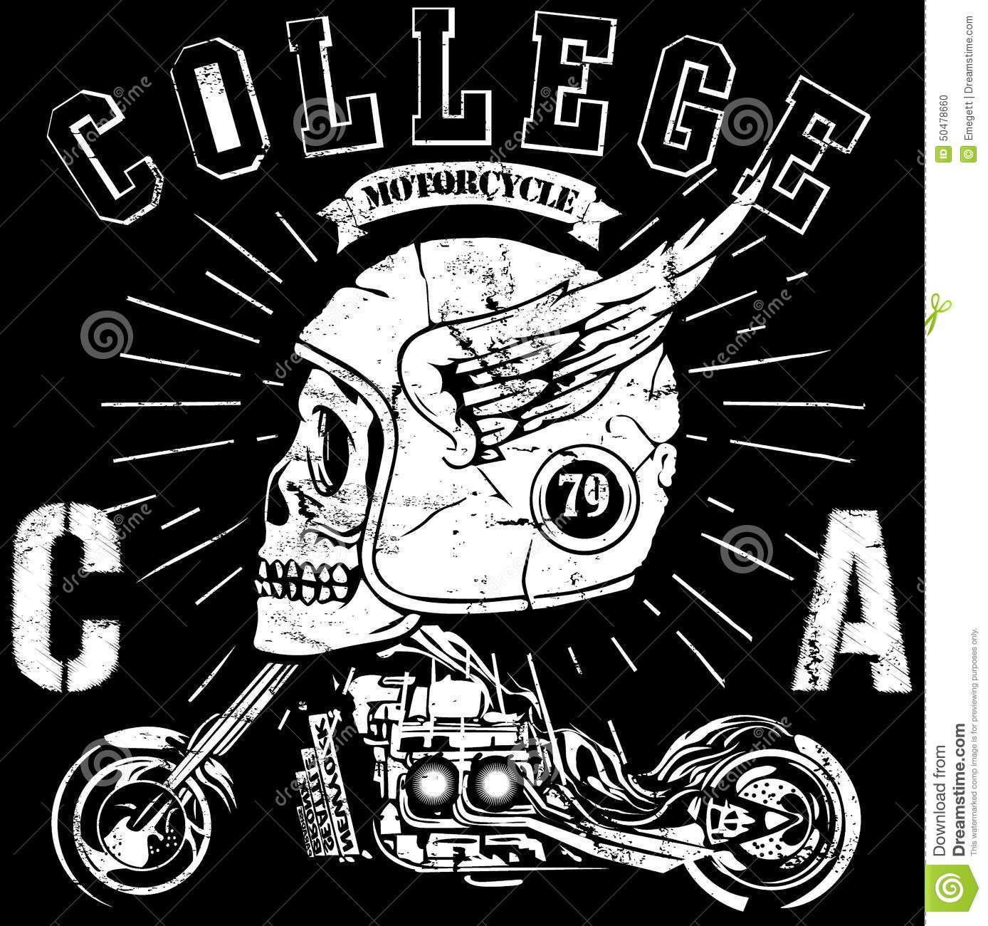 Design t shirt artwork - Vintage Biker Skull Emblem Typography T Shirt Graphics Vectors