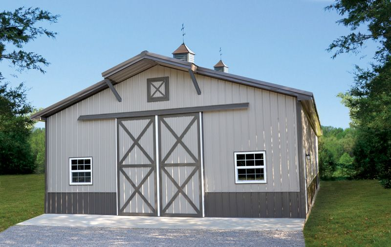 Gallery of post frame buildings and pole barns for Metal barn pictures