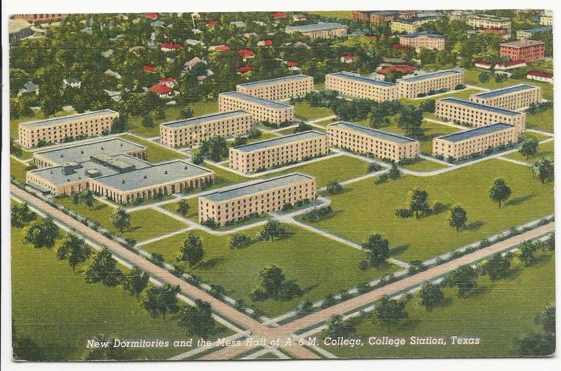 Dorms On Texas A M Campus Texas A M University Texas A M Vintage Postcards