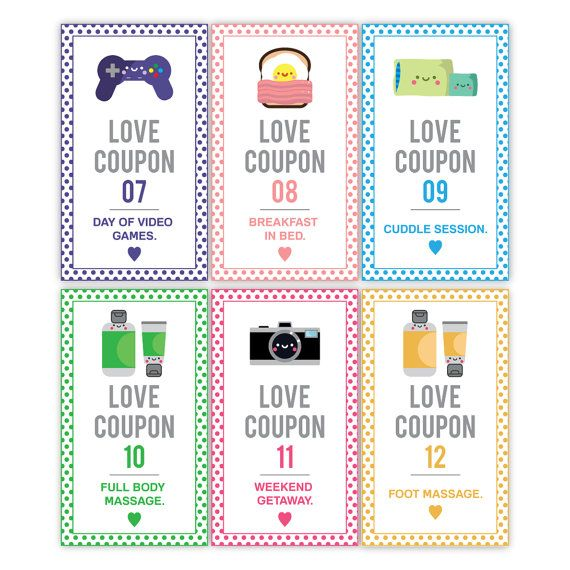 Printable Romantic Love Coupons -INSTANT DOWNLOAD, Valentines Day, Anniversary , Coupons For Him