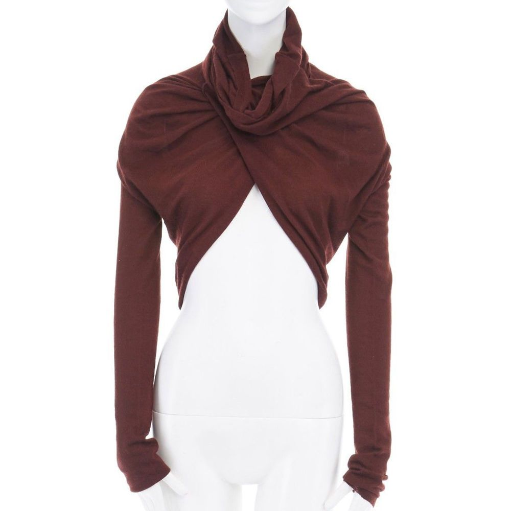 3079660efeaba6 DONNA KARAN burgundy brown twisted wrap front cropped cashmere sweater XS # DonnaKaran #Cashmeresweater #Casual