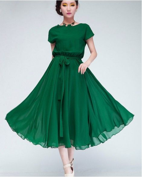8649b47b5e Korean Style Women Pleated Maxi Chic Prom Party Dress Chiffon Women Clothing  Vintage Long Summer Casual Dress