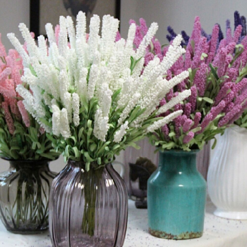 12 Heads Artificial Lavender Flower Leaves Bouquet Home Wedding Garden Decor