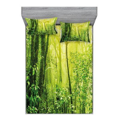 East Urban Home Tropical Amazon Wildlife Nature Forest with Branches and Tree Sheet Set Size: Full