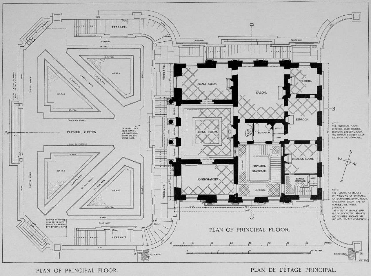 Plan of the main floor of the petit trianon versailles - Architektur plan ...