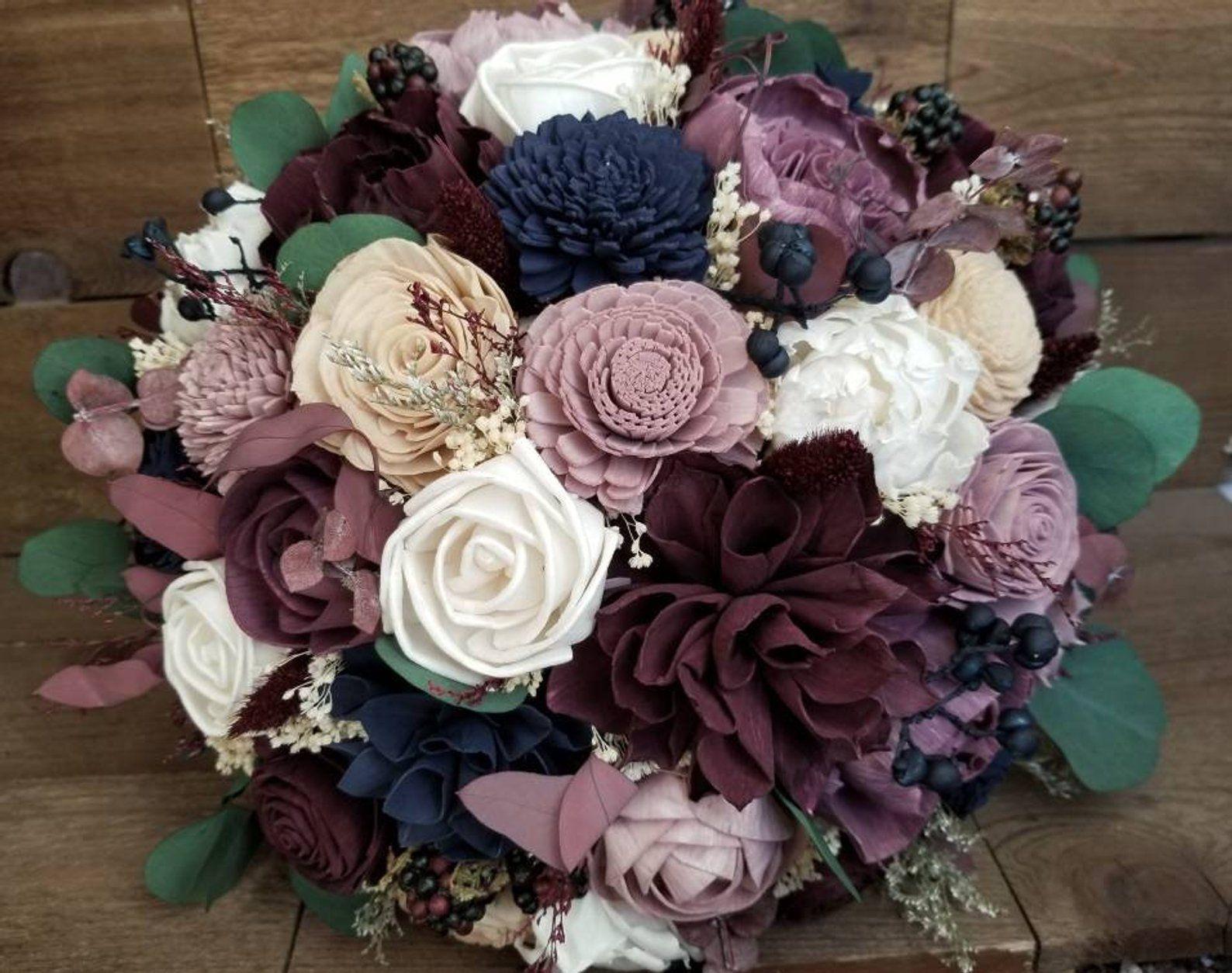 sola bride bouquet purple bouquet Sola plum bouquet bride navy bouquet wedding bouquet navy bridal bouquet plum sola bouquet