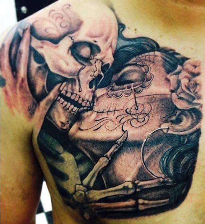 till death do us part - shoulder skeletons kissing