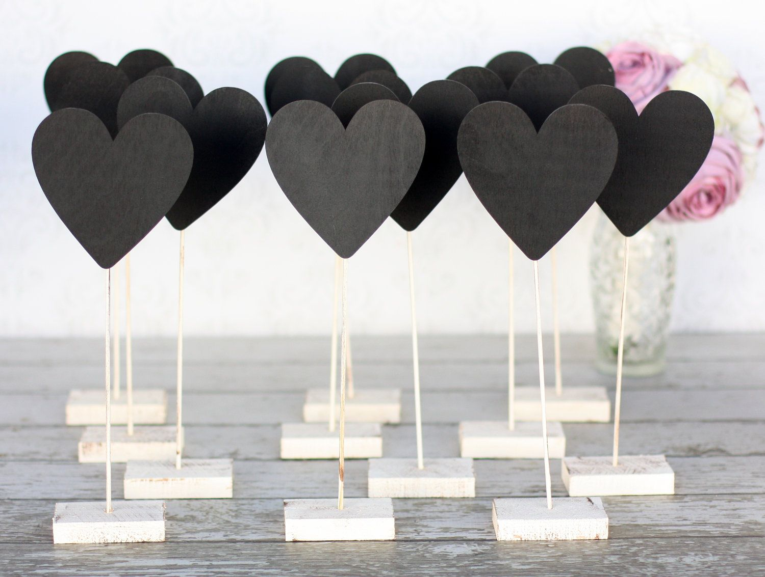 Wedding Table Number Chalkboard Heart Signs Rustic Decor SET of 12 ...