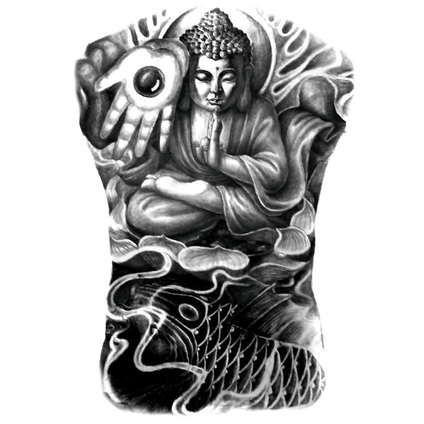 Buddhist full back tattoo