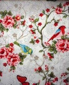 Roosjes,vlinders & vogeltjes stof wit |