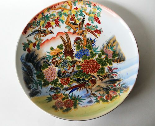 Antique Japanese Plates | Asian Oriental Porcelain Chinese or Japanese Plate Charger Bird Floral . & Antique Japanese Plates | Asian Oriental Porcelain Chinese or ...