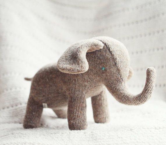 Upcycled wool elephant plush  elephant de laine by ouistitine