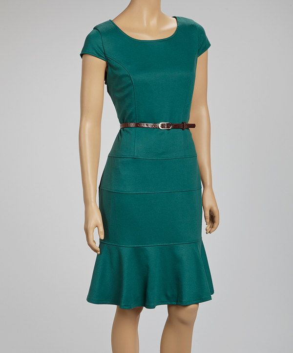 Look at this Forest Belted Scoop Neck Dress on #zulily today!