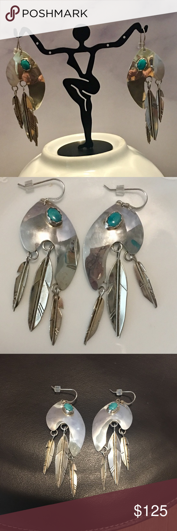 Vintage Sterling Silver &Turquoise Earrings