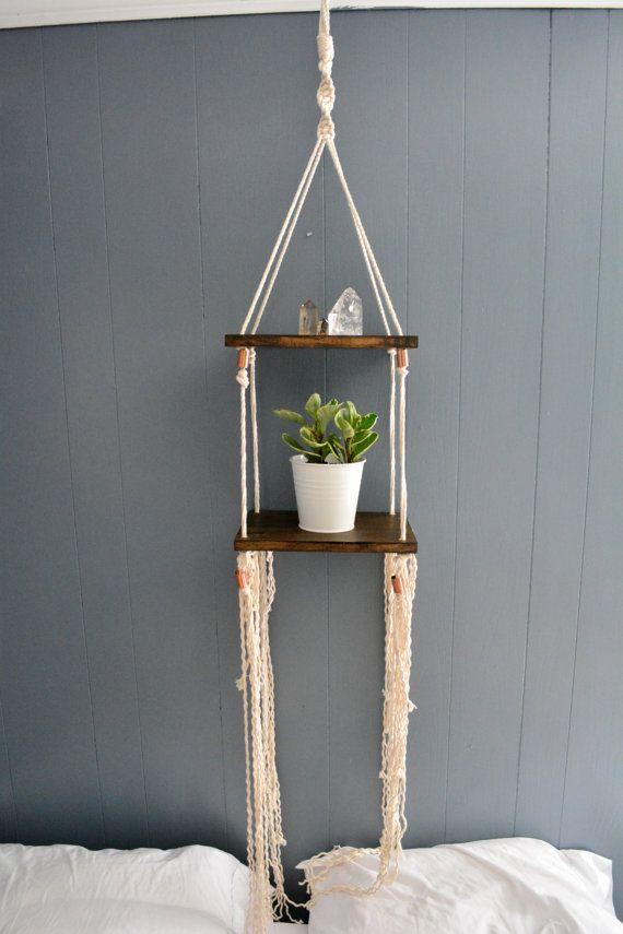 Double Hanging Macrame Shelf by LisaMTerry on Etsy