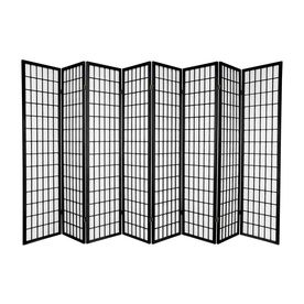 Oriental Furniture Window Pane 8-Panel Black Folding Indoor Privacy ...