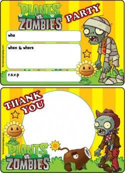 Plants vs zombies printable party invitations and thank you letter plants vs zombies printable party invitations and thank you letter maxwellsz