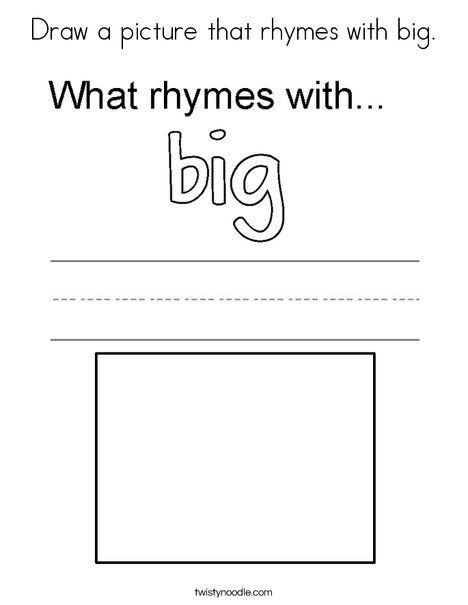 Draw a picture that rhymes with big Coloring Page - Twisty ...