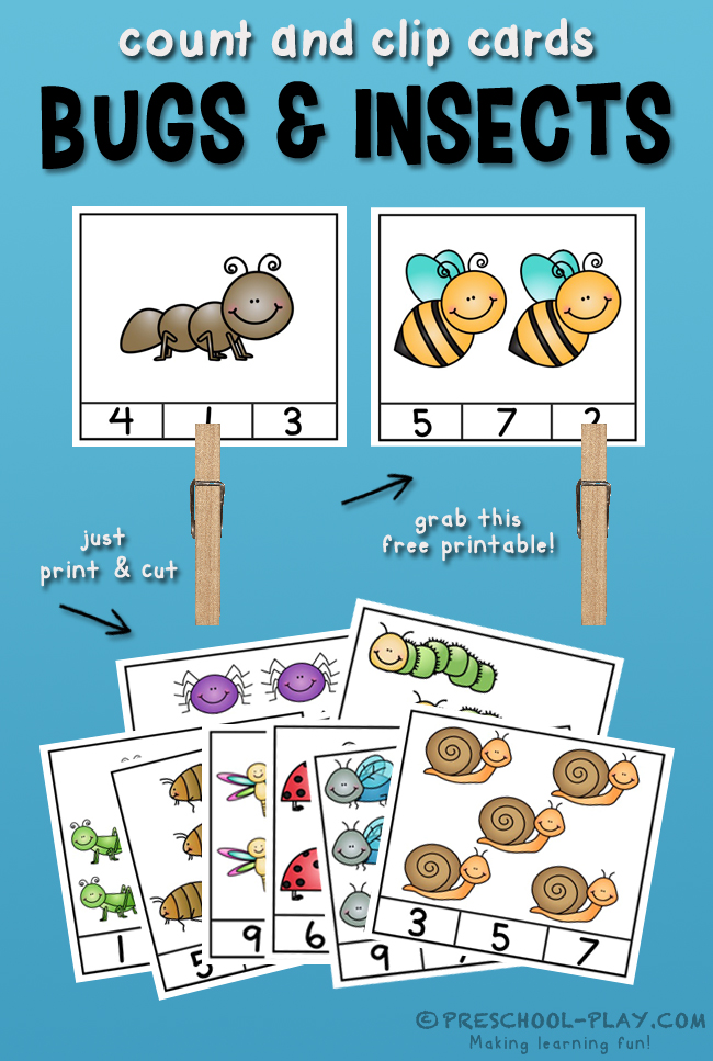 Free Bugs and Insects Count and Clip Cards