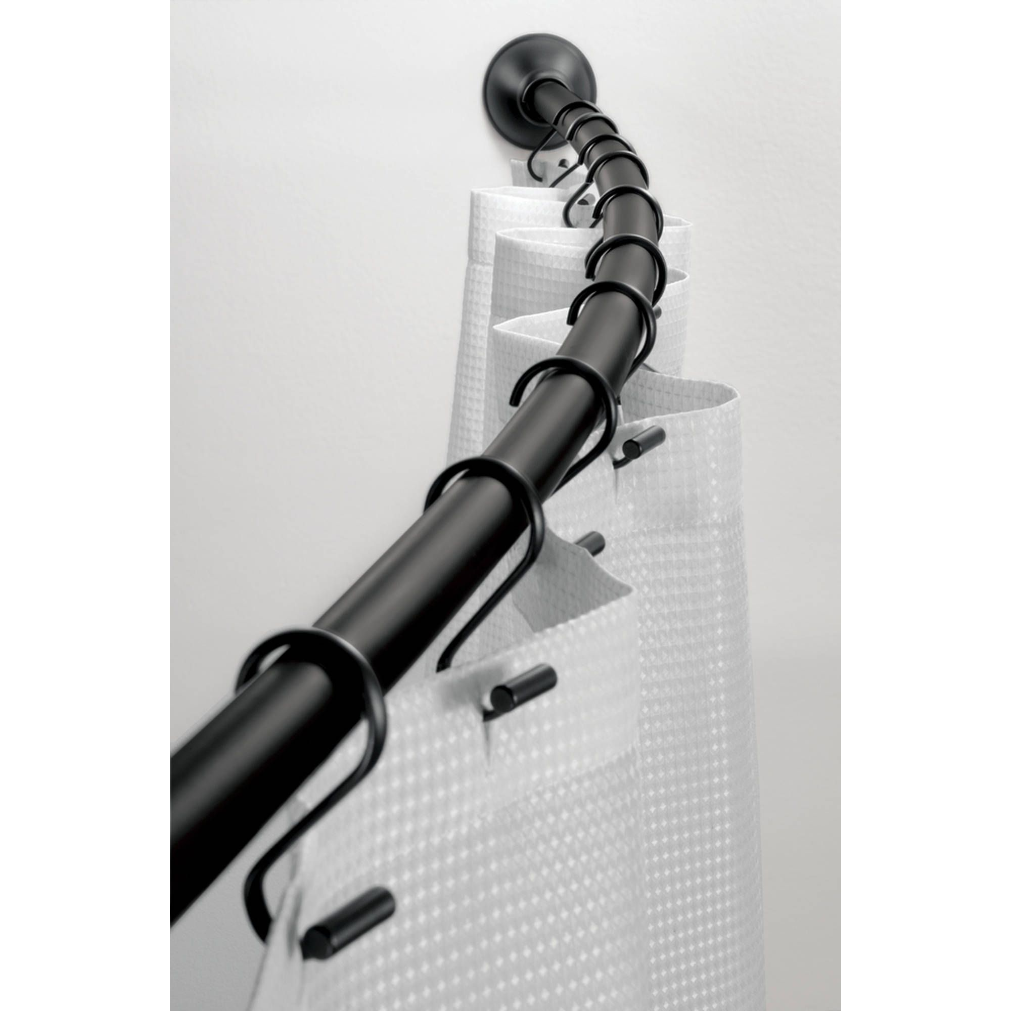 Home In 2020 Black Shower Curtains Shower Curtain Rods Black Tub