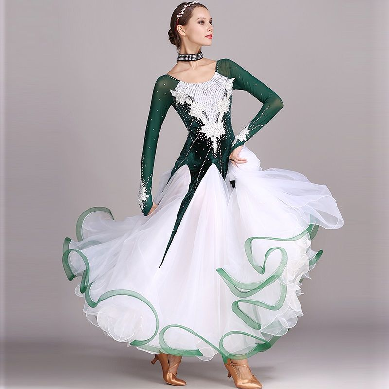 024ea0c1b green rhinestones Ballroom dance competition dress standard dresses modern  dance costume ballroom waltz dress luminous costumes-in Ballroom from  Novelty ...