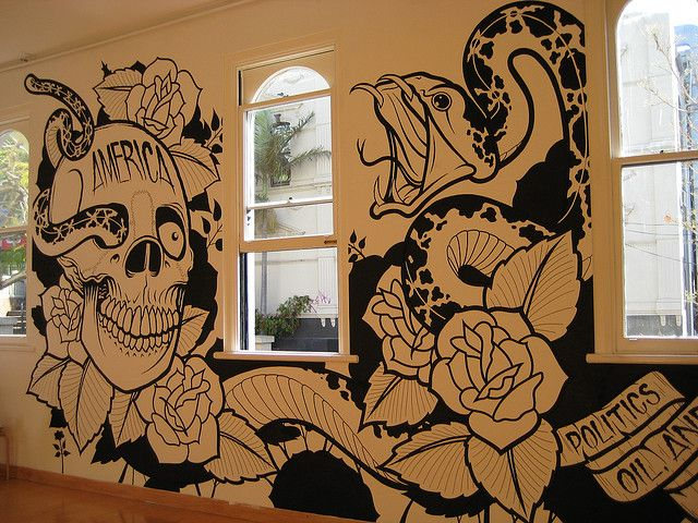 Mike giant wall mural at monster children gallery by painter girl via flickr