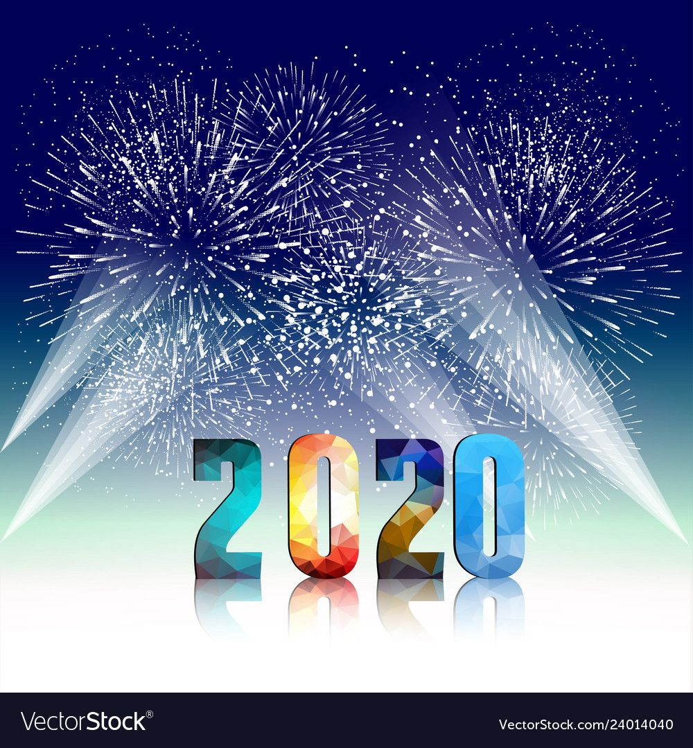 Happy new year 2020 background with fireworks vector image