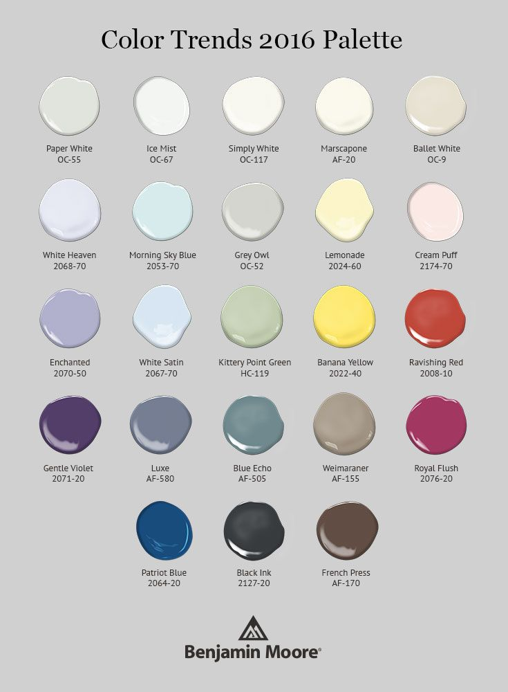 From Timeless Whites To Energizing Chromatic Colors Benjamin Moore S Color Trends 2016 Palette Has A Little Something For Everyone