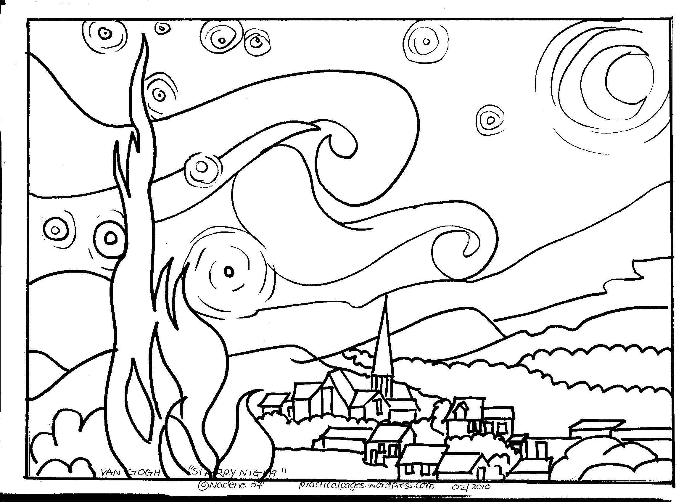 Famous Artists Coloring Pages Fresh Starry Night Coloring Page