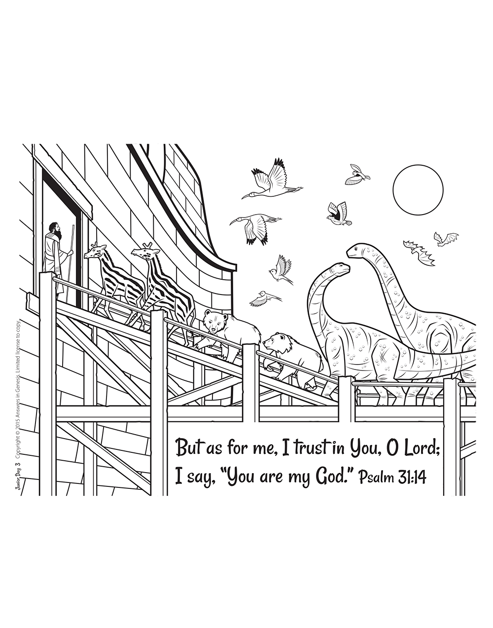 Colouring pages from Answers in Genesis Kids Answers site