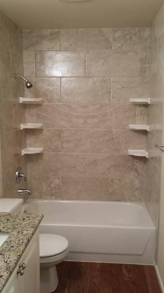 My new bathtub tile surround! 12x24 Floridatile Cinema series in ...