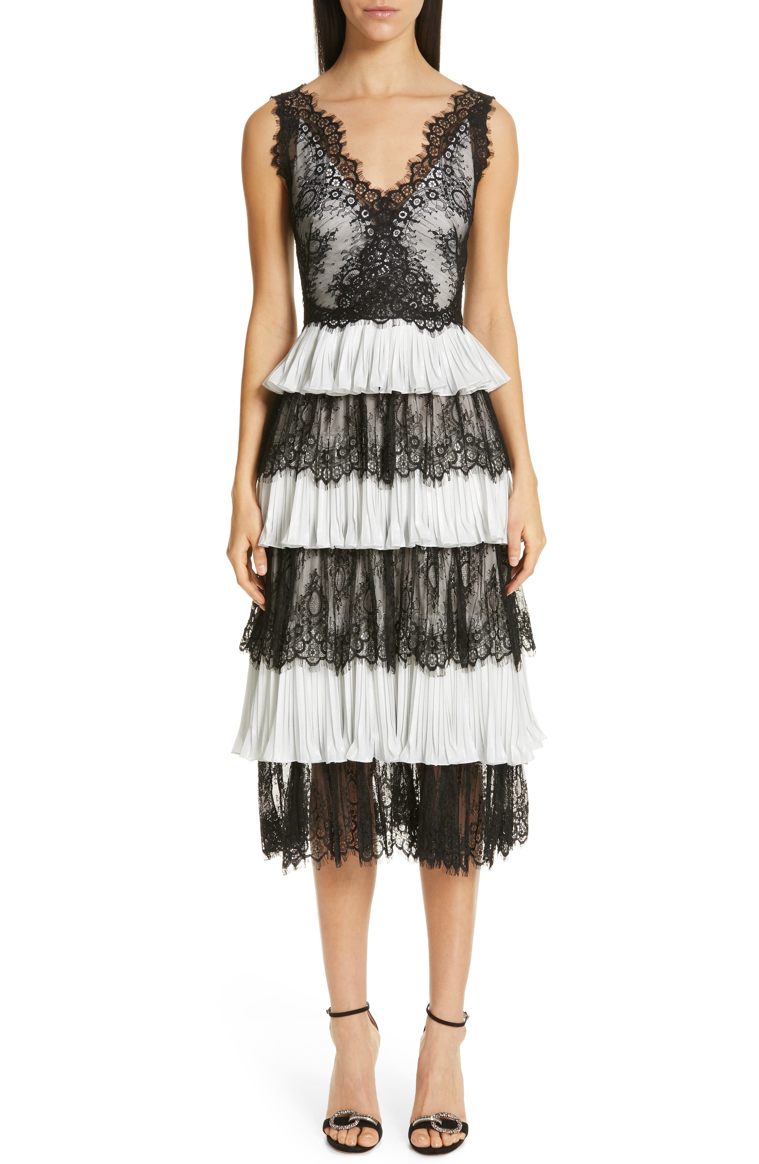 Womens Marchesa Notte Tiered Lace Tea Length Dress Size 12