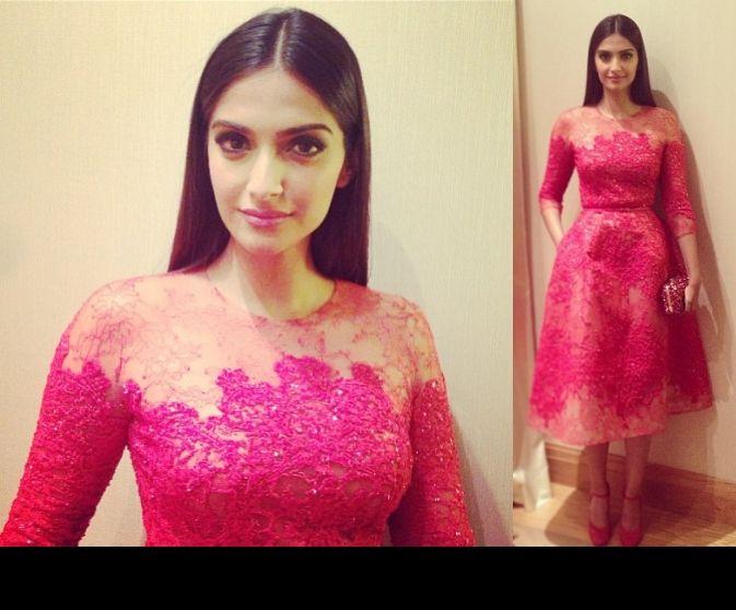 Sonam Kapoor Before Cannes 2013 Opening Gala Dinner in Elie Saab Couture