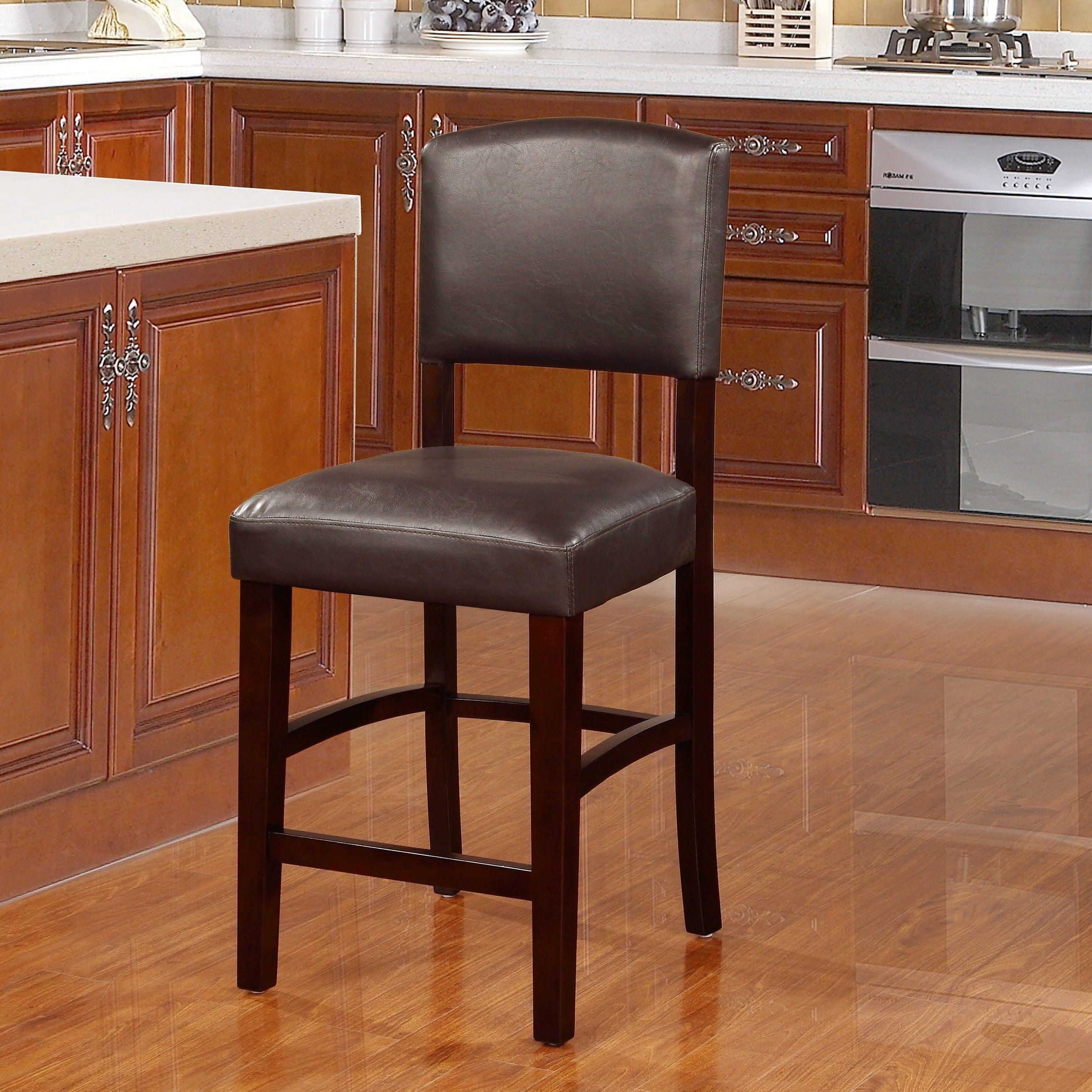 Stupendous Linon Monte Carlo Espresso Counter Stool Vinyl Padding As Machost Co Dining Chair Design Ideas Machostcouk