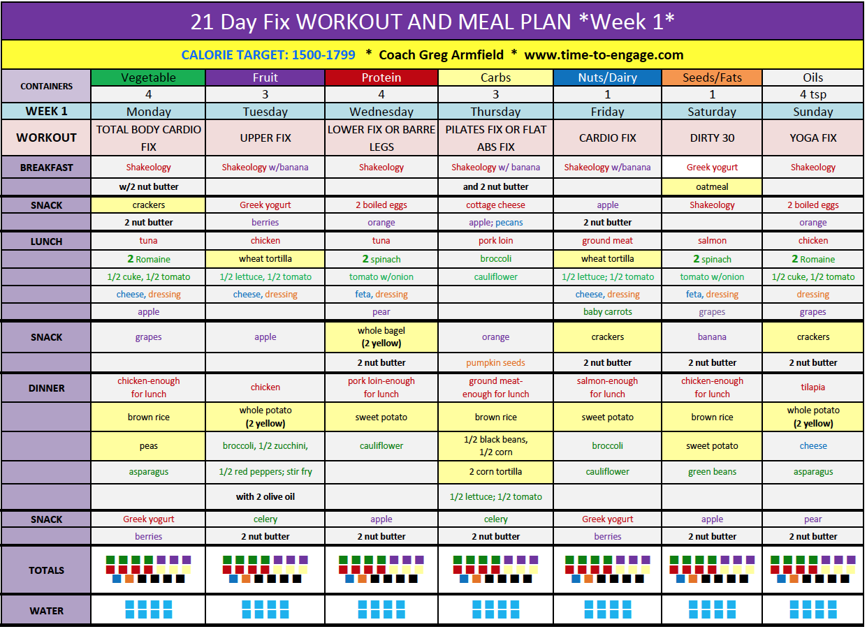 Download My Free 21 Day Fix Workout Schedule And Meal Plan