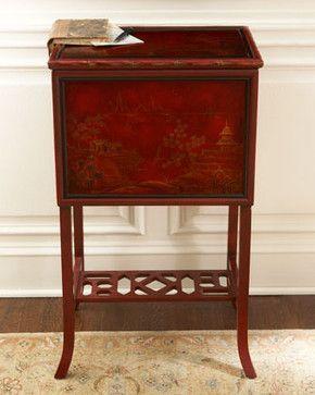 Decorative File Bo Furniture Cabinets Red Asian Scene Box Storage