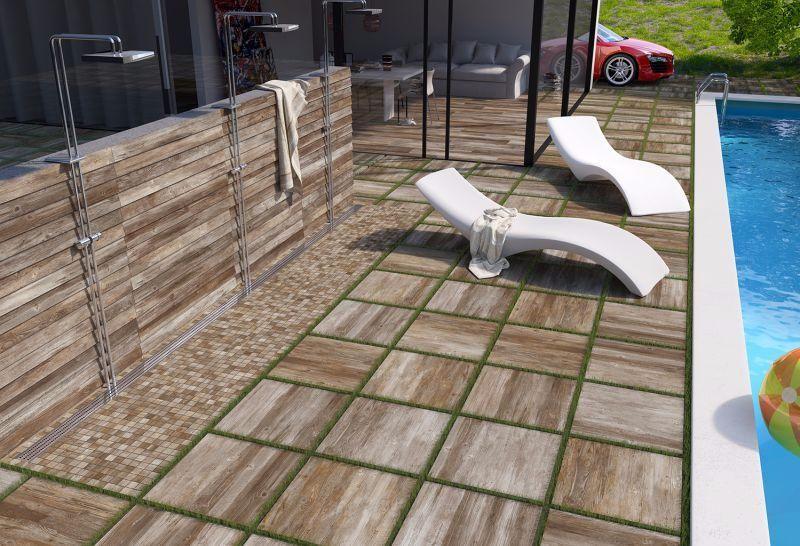 DALLE DAVINCI carrelage extérieur 2 cm BEIGE imitation bois - carrelage terrasse exterieur imitation bois