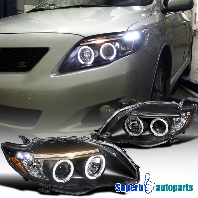 2009 2010 Toyota Corolla Clear Led Dual Halo Projector Headlights Black Ebay Motors Parts Accessories Car Truck