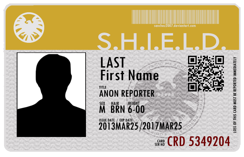 Agents Of SHIELD ID Card By Sanchez2007he Psd File For Adobe Photosohop Is Download It Has Separates Layers Each Part