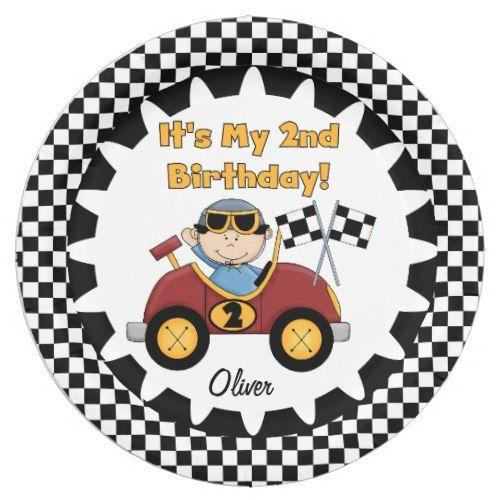 Red Racing Car 2nd Birthday Paper Plates  sc 1 st  Pinterest & Red Racing Car 2nd Birthday Paper Plates | Party Paper Plates ...