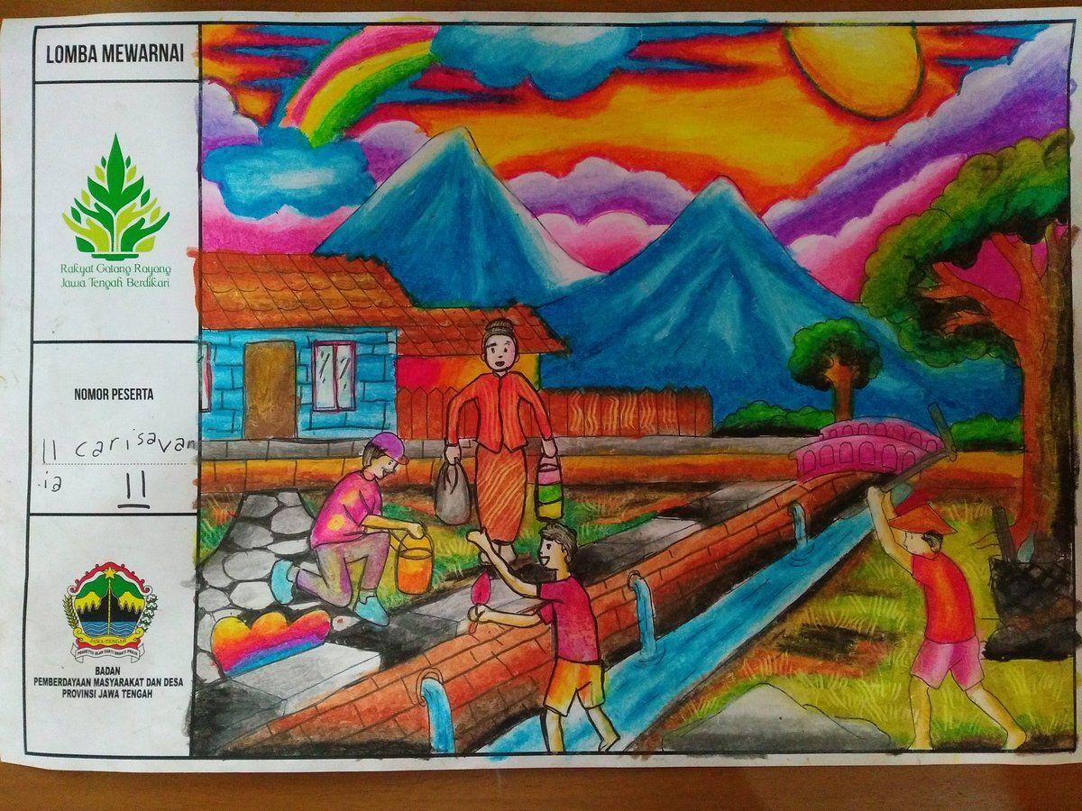 Gambar Mewarnai Gotong Royong Kebersihan Lingkungan Dan Kelas