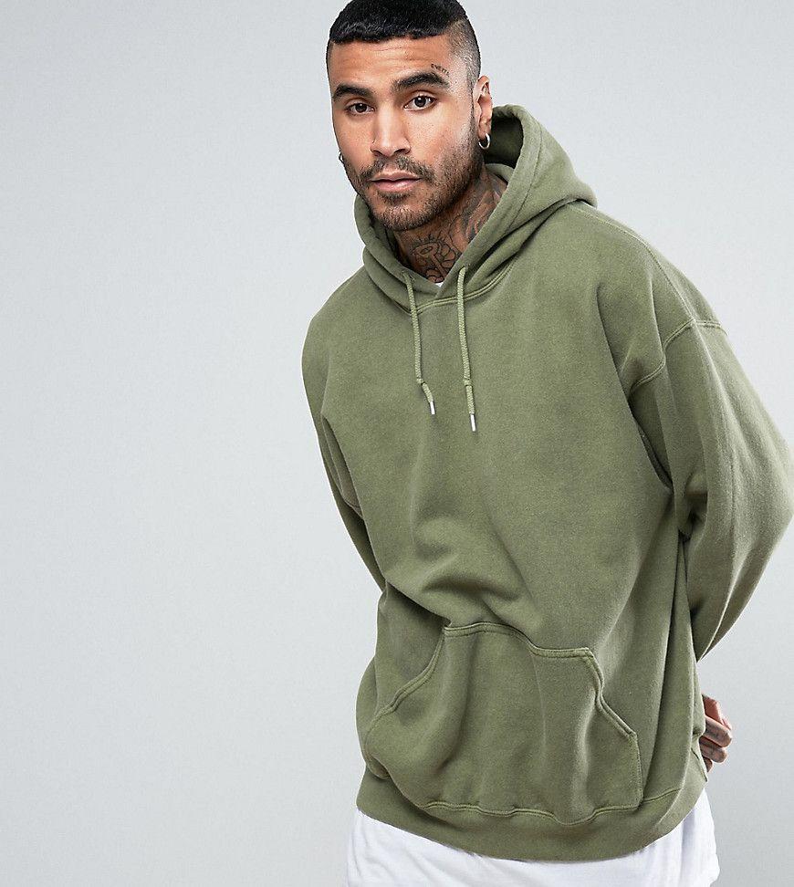 Reclaimed Vintage Inspired Oversized Hoodie In Green Overdye Green Hoodies Mens Sweatshirts Hoodie Tall Hoodies