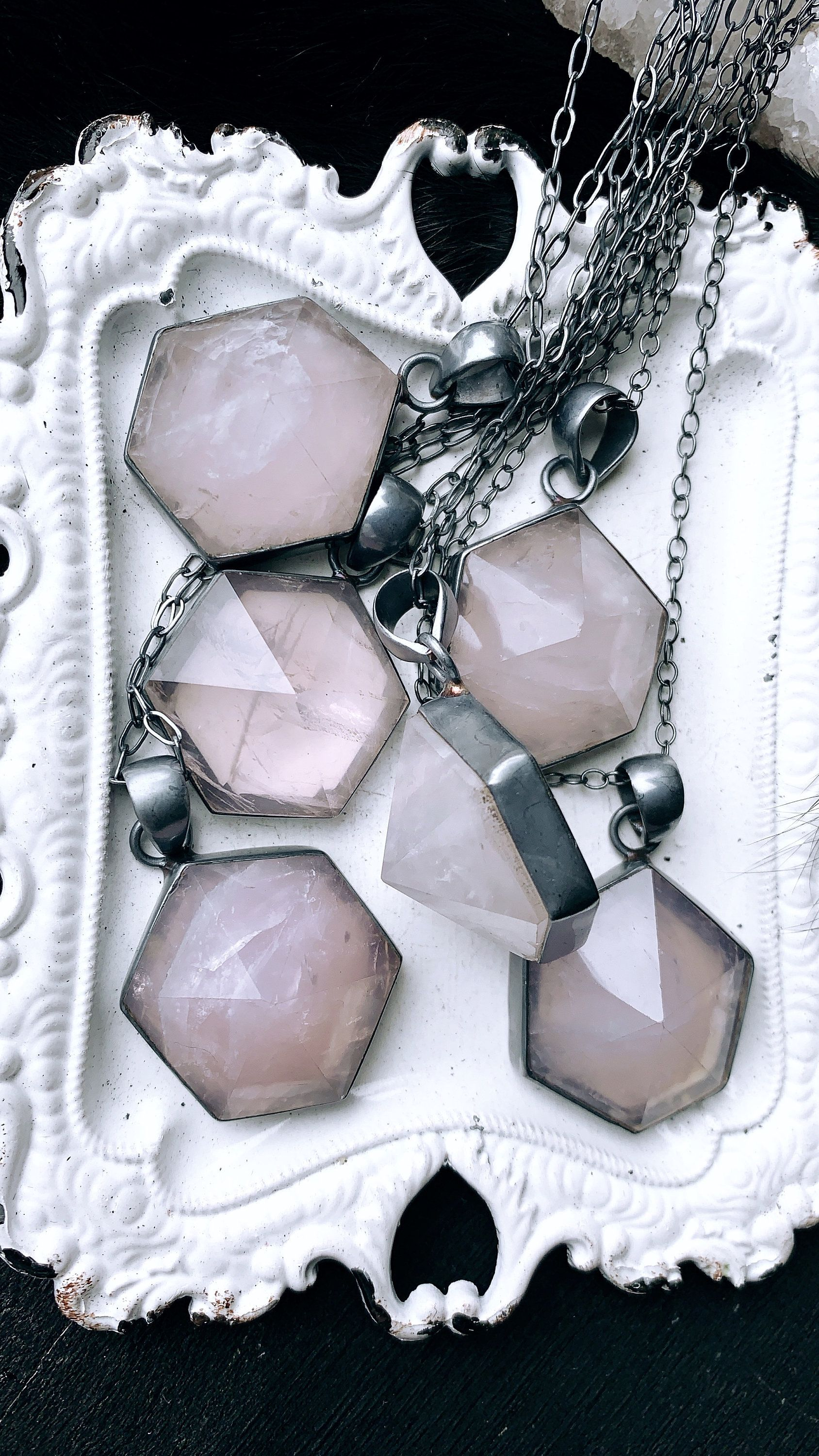 Rose quartz necklace, point necklace