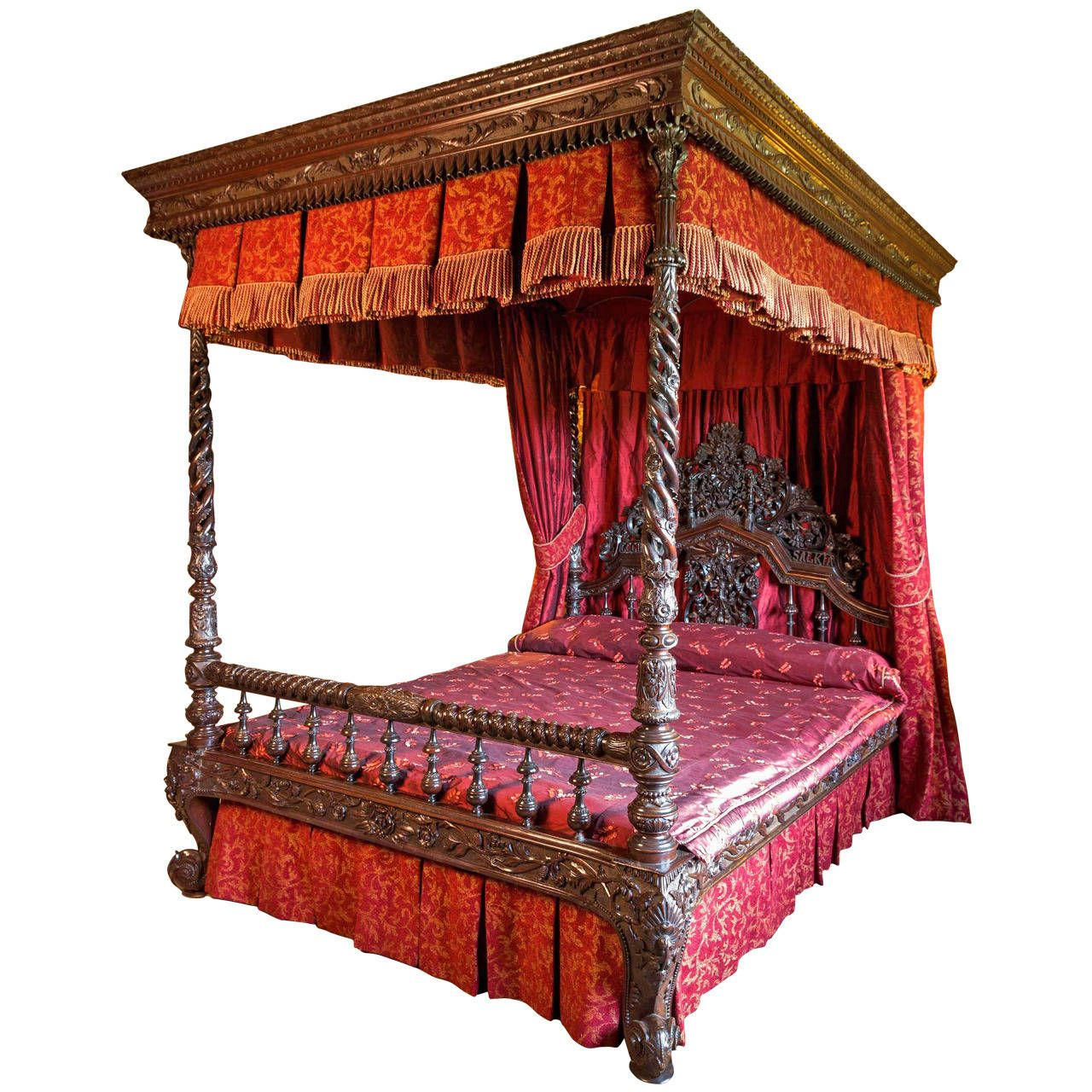 19th century anglo indian four poster bed modern wood Modern bedroom with antique furniture