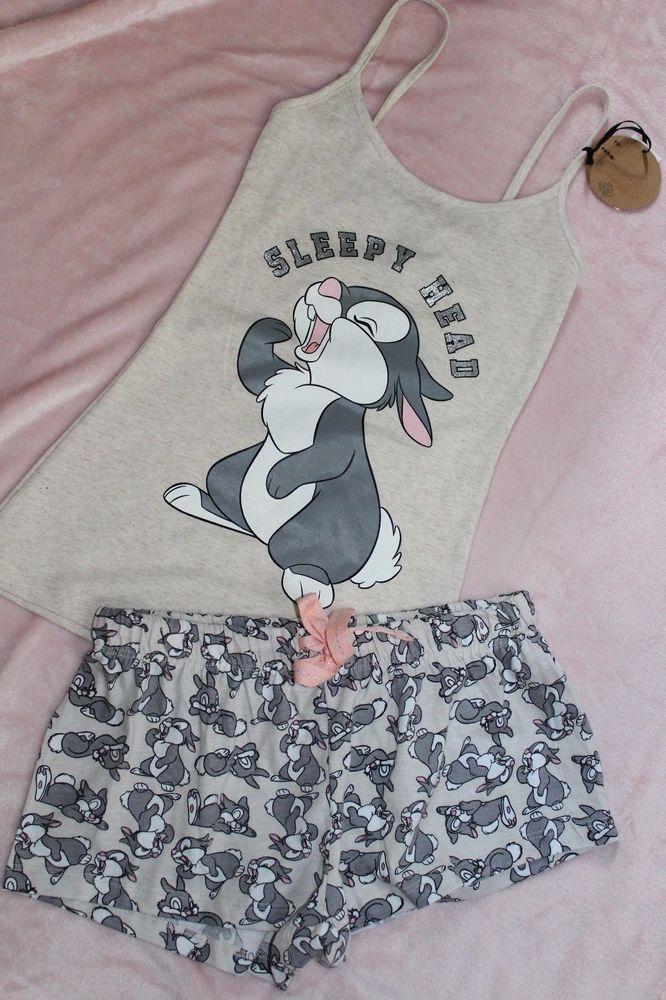 11aa781b585a Ladies DISNEY THUMPER RABBIT Pyjamas SLEEPY HEAD Cami Vest Shorts Primark