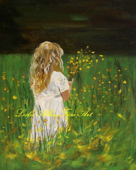 Little Girls Picking Flowers In A Field Canvas Painting