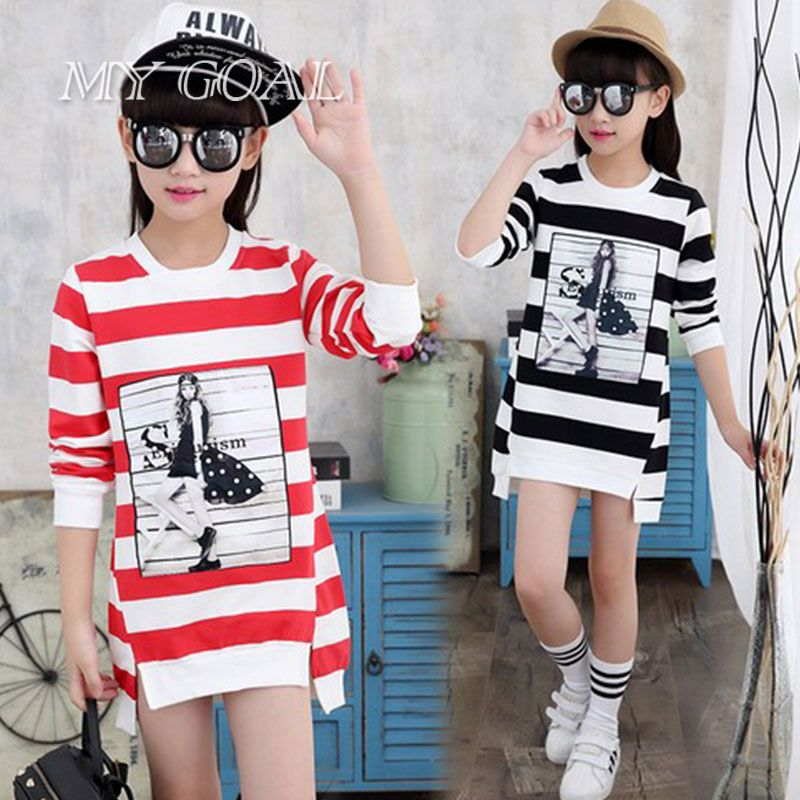 >> Click to Buy << Autumn Winter Girls Children's Stripe Printed Asymmetrcal Clothes Infant Kids Costume Princess Baby Party Dresses #Affiliate