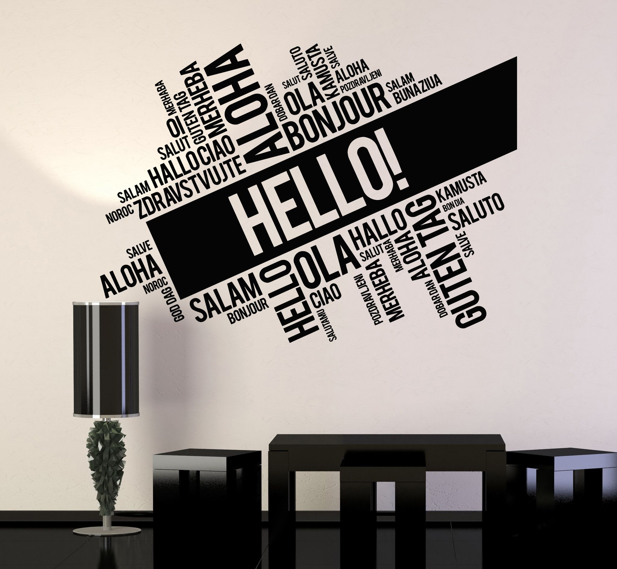Vinyl Wall Decal Hello Words Cloud Room Office Decoration Stickers