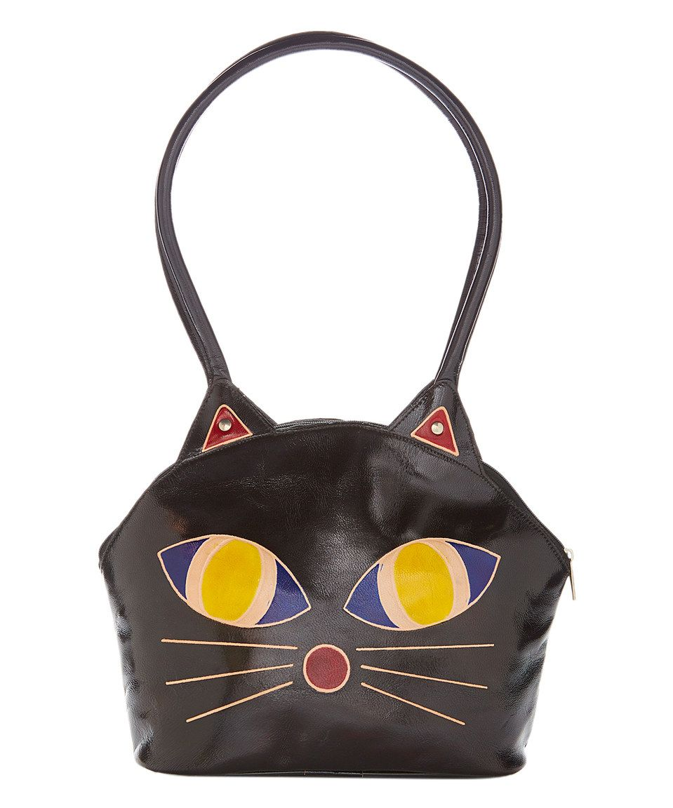 5521c90272fa1c Look what I found on #zulily! Shina Black Cat Hand-Painted Leather Tote by  Shina #zulilyfinds