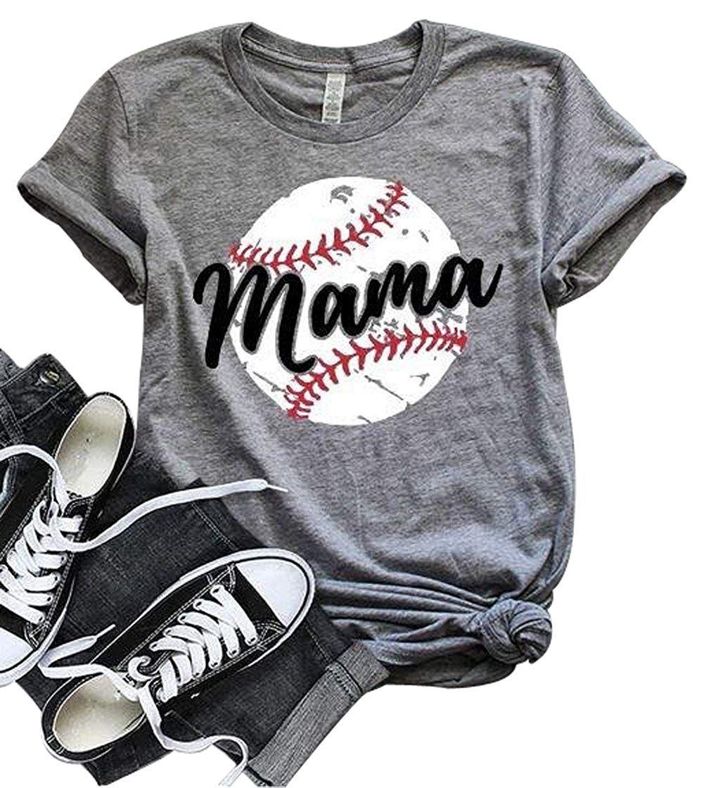 Photo of LONBANSTR Women Baseball Mom Mama Letter Print T Shirt Short Sleeve Tops Tee-Yolotee